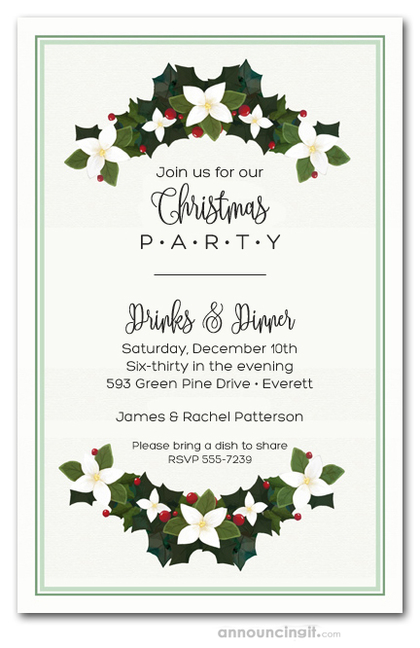 Magnolia Holiday Swags Party Invitations