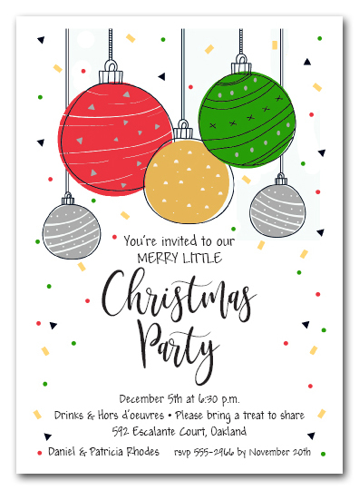 Mod Christmas Ornaments Holiday Party Invitations