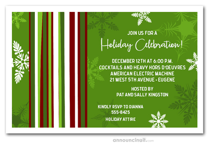 Mod Snow on Green Holiday Invitations