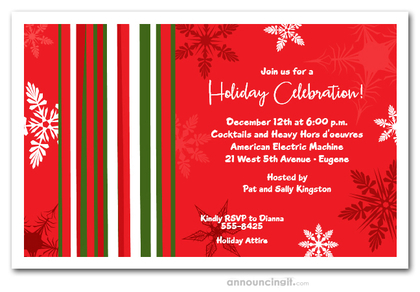 Mod Snow on Red Holiday Invitations