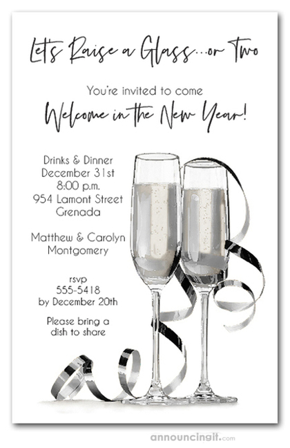 Noir Champagne & Streamers New Year's Eve Invitations