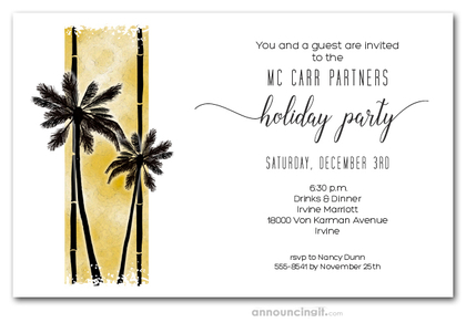 Palm Silhouettes on Gold Holiday Invitations
