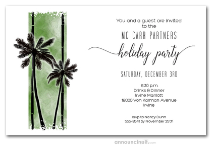 Palm Silhouettes on Green Holiday Invitations