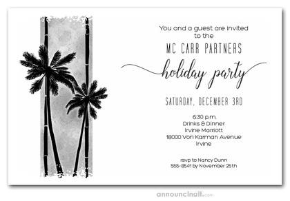 Palm Silhouettes on Grey Holiday Invitations