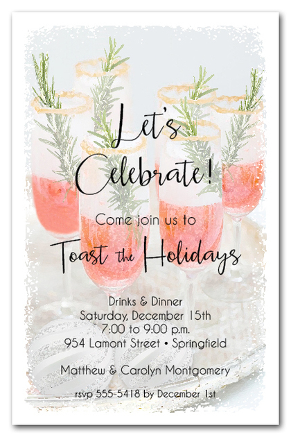 Pink Champagne & Rosemary Holiday Cocktail Invitations