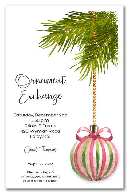 Pink & Green Ornament Holiday Invitations