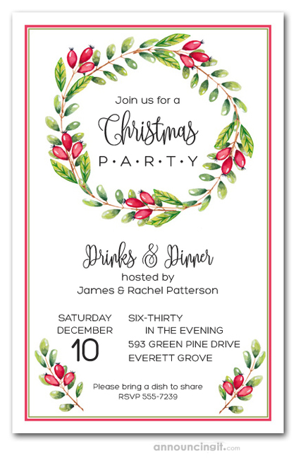 Red Berries Vine Wreath Holiday Invitations