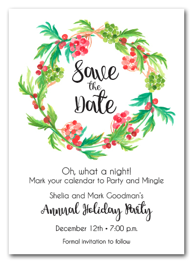 Red Berries And Greens Wreath Holiday Save The Date Cards