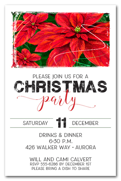 Red Poinsettias Holiday Invitations