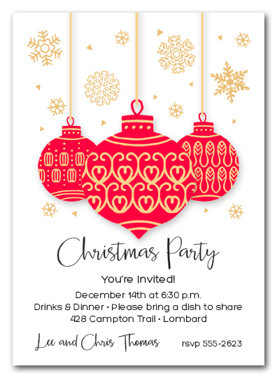 Red & Gold Ornaments & Snowflakes Holiday Invitations
