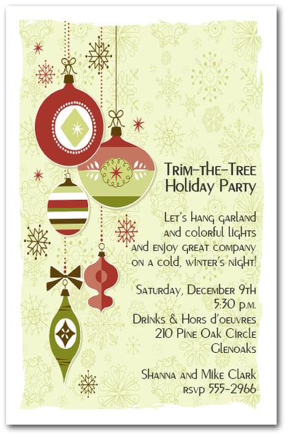retro christmas tree ornaments invitations  holiday