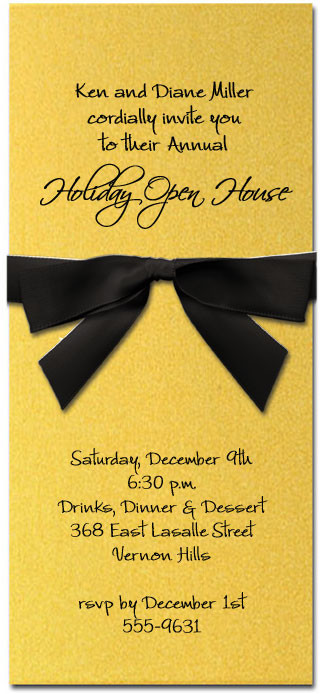 Shimmery Gold Invitation & Black