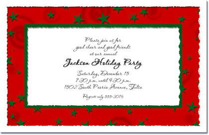 Holiday Green Stars Invitations