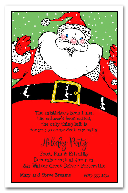 Santa's Belly Christmas Party Invitations