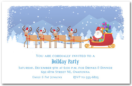 Santa's Sleigh and Reindeer Too Holiday Invitations