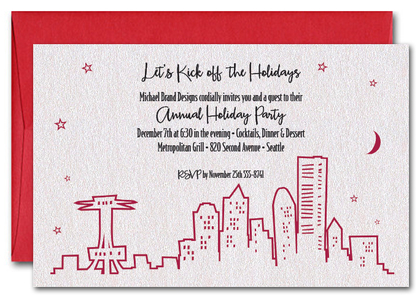 Red Seattle Skyline on Shimmery White Invitations