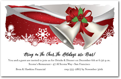 Silver Bells Holiday Party Invitations