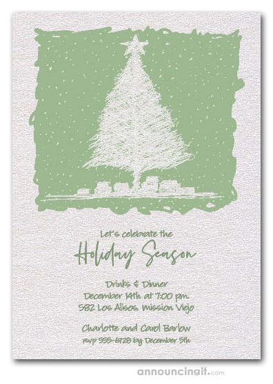 Sketched Holiday Tree Shimmery White Invitations