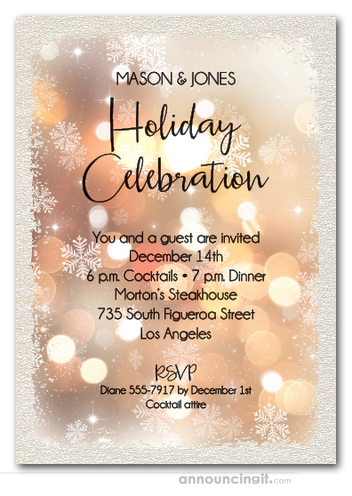 Snowflakes & Lights Shimmery Holiday Invitations