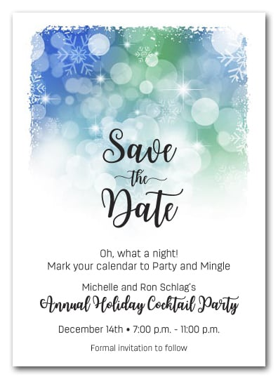 white snowflakes on blue holiday christmas party save the date cards