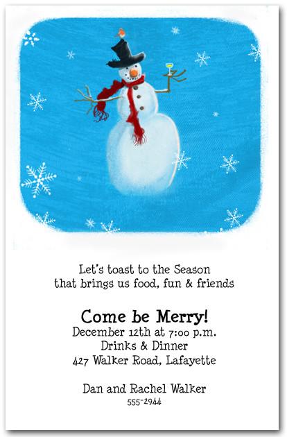 snowman toast holiday party invitations christmas invitations
