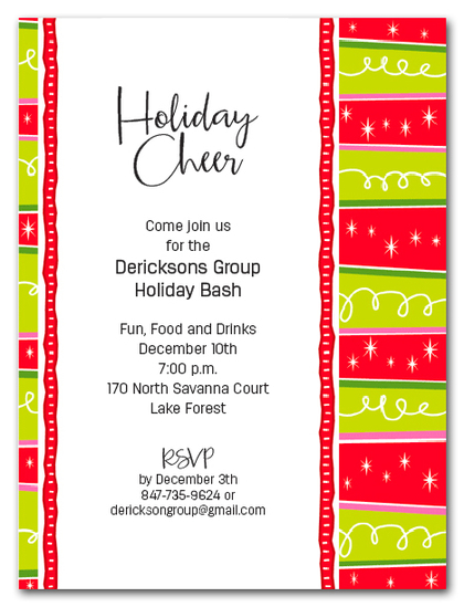 Squiggles & Stripes Holiday Party Invitations