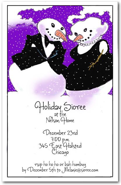 tuxedo u0026 39 d snowman  u0026 wife holiday party invitations