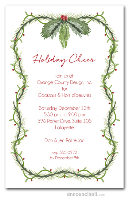 Vines Greens & Berries Holiday Invitations