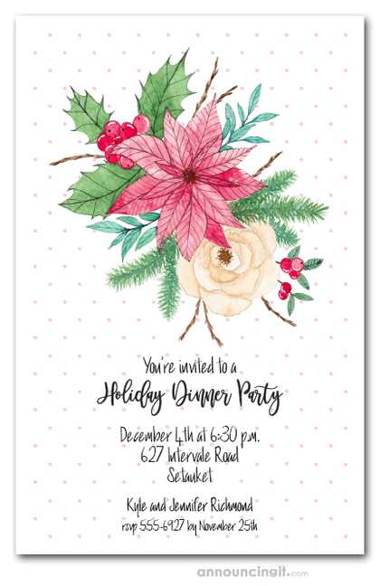 Watercolor Poinsettia and Mistletoe Holiday Invitations