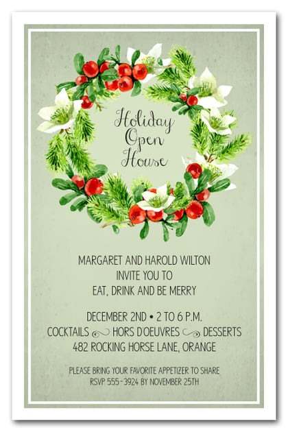 Wreath on Sage Holiday Invitations