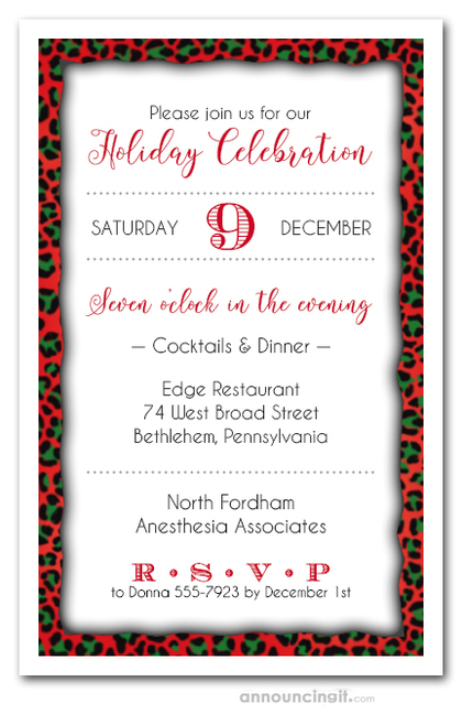 Holiday Leopard Print Party Invitations