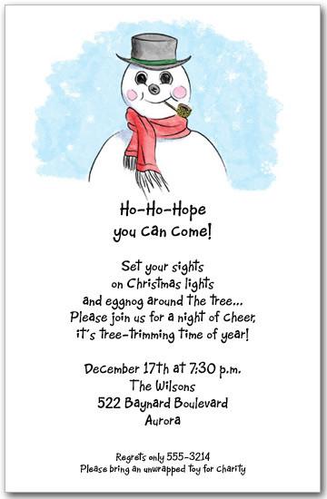 sammy snowman invitations christmas invitations holiday party