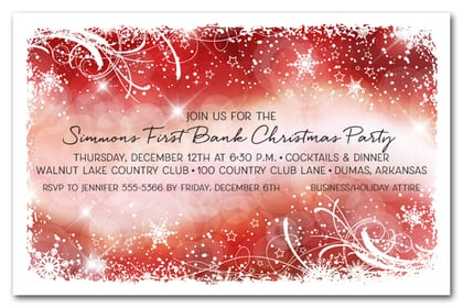 Snowflakes & Bokeh on Red Holiday Invitations