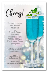 Blue Cocktails Party Invitations