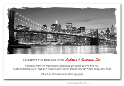 Brooklyn Bridge Skyline Holiday Invitations