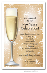 Champagne and Gold Snowflakes New Year's Invitations