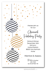 Black & Gold Holiday Christmas Tree Ornaments Invitations