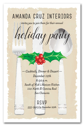 Holly & Berries on Flatware Holiday Invitations