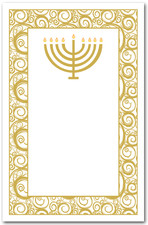 Gold Menorah on Swirls