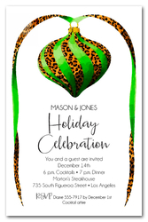 Green & Leopard Ornament Christmas Invitations