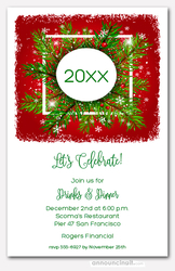 Holiday Greens and Snow on Crimson Invitations
