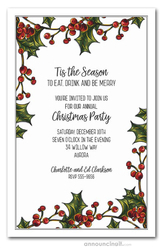 Holly Berry Garland Christmas Invitations