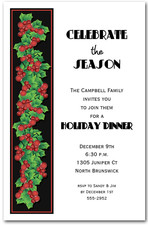 Holly String Holiday Party Invitations