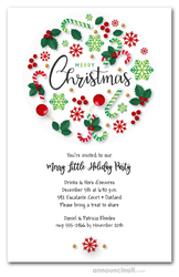 Red and Green Canes and Flakes Christmas Invitations
