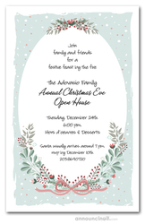 Mint Christmas Swags Holiday Invitations