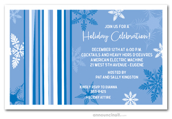 Mod Snow on Blue Holiday Invitations