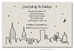 New York Skyline on Shimmery Quartz Invitations