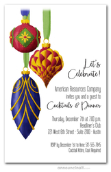 Ornate Christmas Tree Ornaments Holiday Invitations