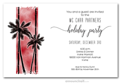 Palm Silhouettes on Red Holiday Invitations