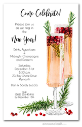 Pomegranate Champagne New Year's Eve Invitations
